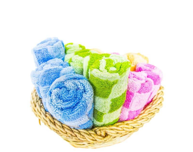 Asciugamani in canestro di vimini VII immagine stock libera da diritti