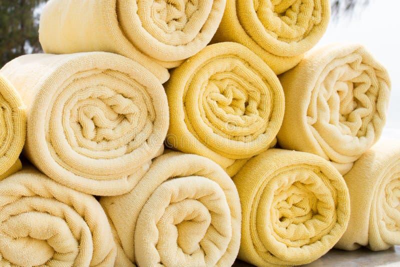 Asciugamani della stazione termale fotografia stock