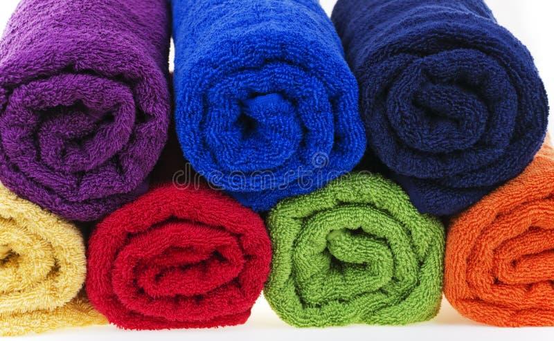 Asciugamani variopinti, cotone Terry fotografia stock libera da diritti