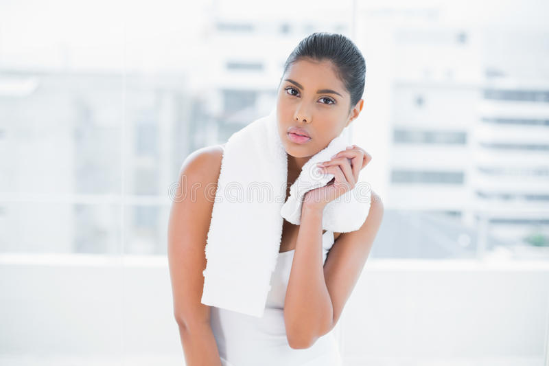Asciugamano castana tonificato aggrottante le sopracciglia della tenuta fotografia stock