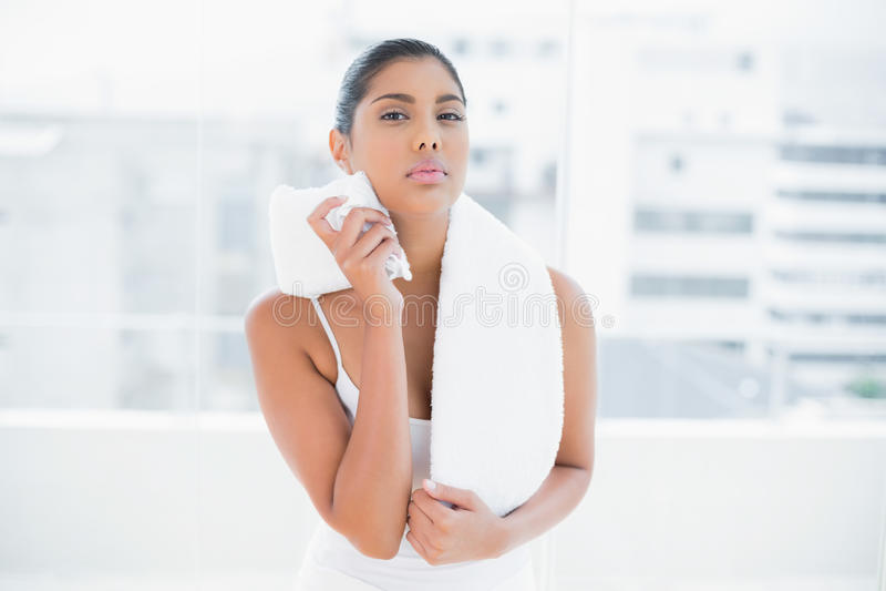 Asciugamano castana tonificato serio della tenuta immagine stock