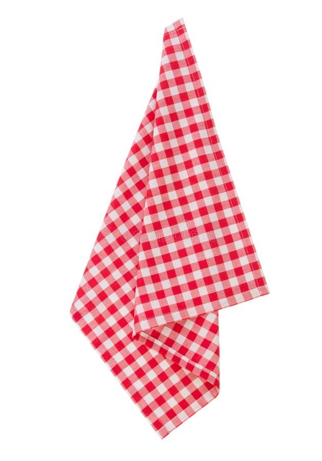 Asciugamano a quadretti del panno rosso di picnic immagine stock