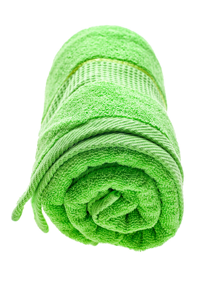 Asciugamano rotolato verde fotografie stock