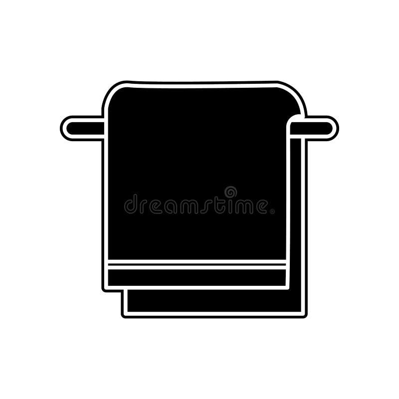 Asciugamano sull'icona del gancio Elemento del bagno per il concetto e l'icona mobili dei apps di web Glifo, icona piana per prog illustrazione vettoriale