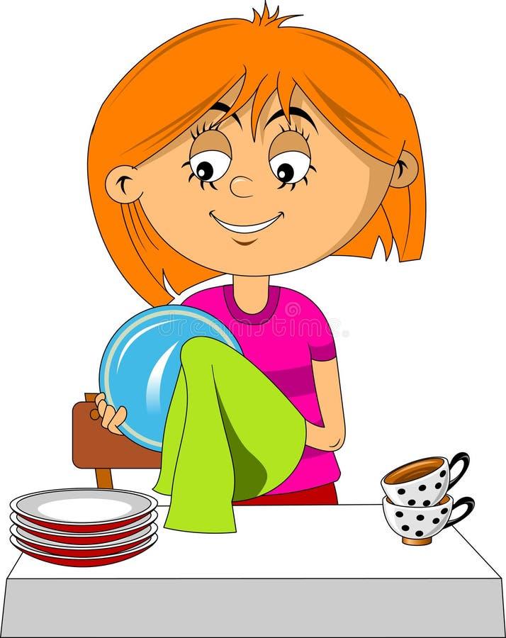 Asciughi i piatti royalty illustrazione gratis