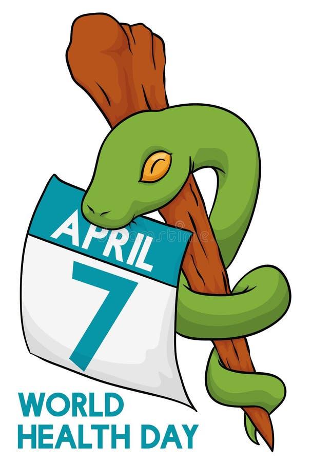 Asclepius węża zwitka Wokoło personelu, Wektorowa ilustracja ilustracja wektor