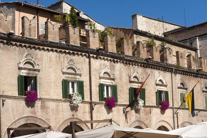 Ascoli Piceno (Italy): Piazza del Popolo stock images