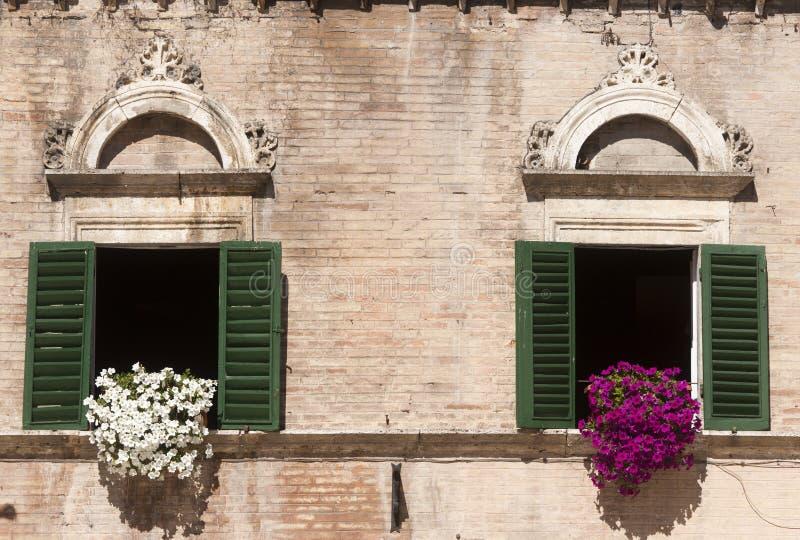 Ascoli Piceno (Italy): Piazza del Popolo, windows royalty free stock photos