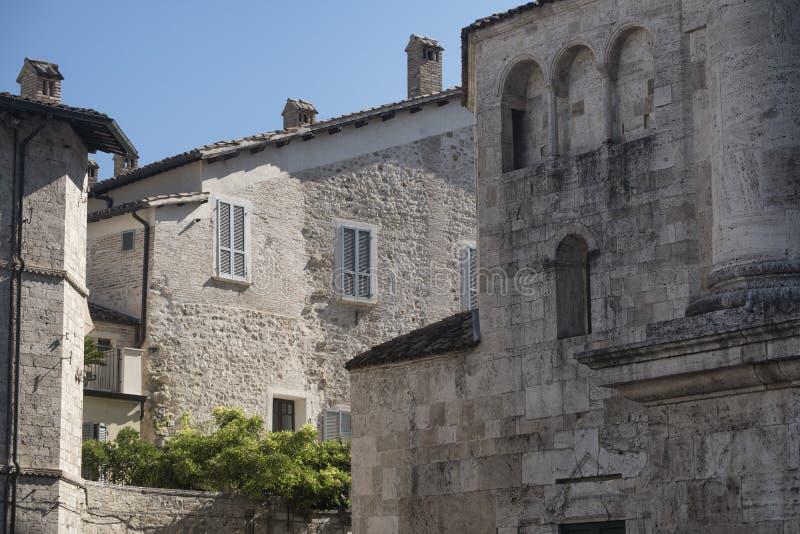 Ascoli Piceno Marches, Italy, buildings in Arringo square stock photo