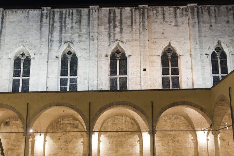 Ascoli Piceno (Marches, Italy): Cloister by night royalty free stock photo
