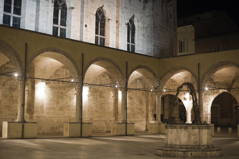 Ascoli Piceno (Marches, Italy): Cloister by night royalty free stock photography