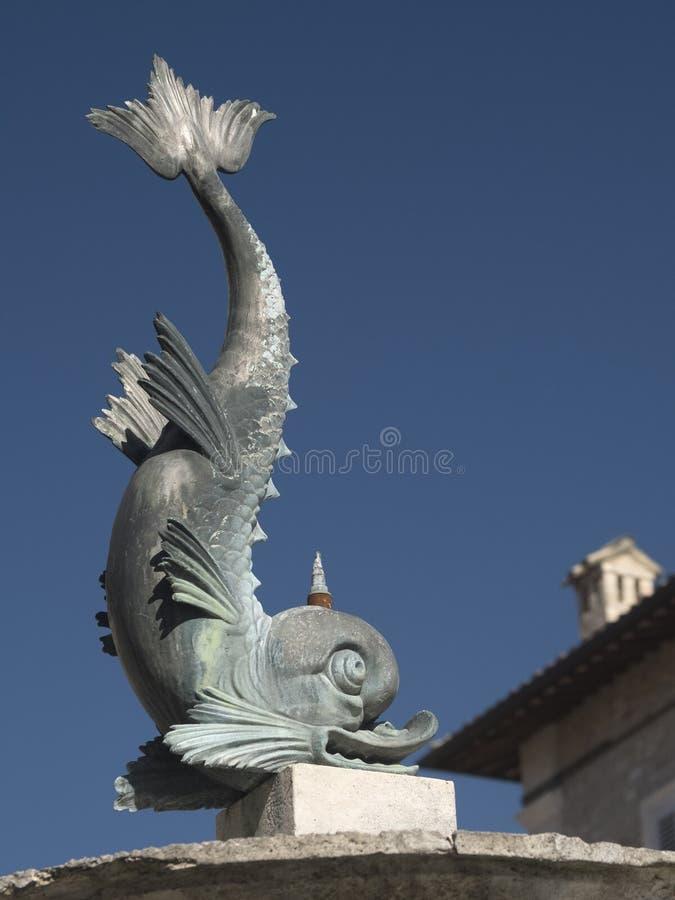 Ascoli Piceno Marches, Italy, fountain in Arringo square stock images