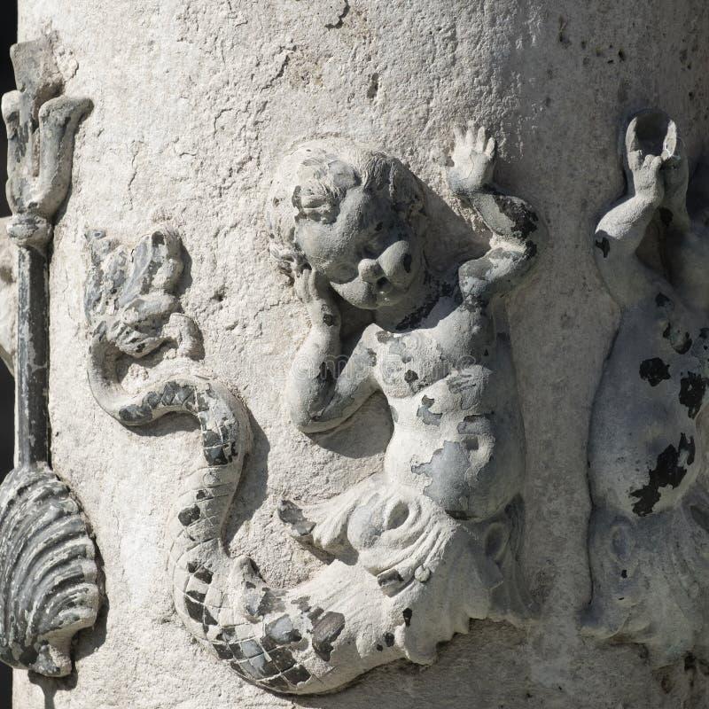 Ascoli Piceno Marches, Italy, fountain in Arringo square stock photos