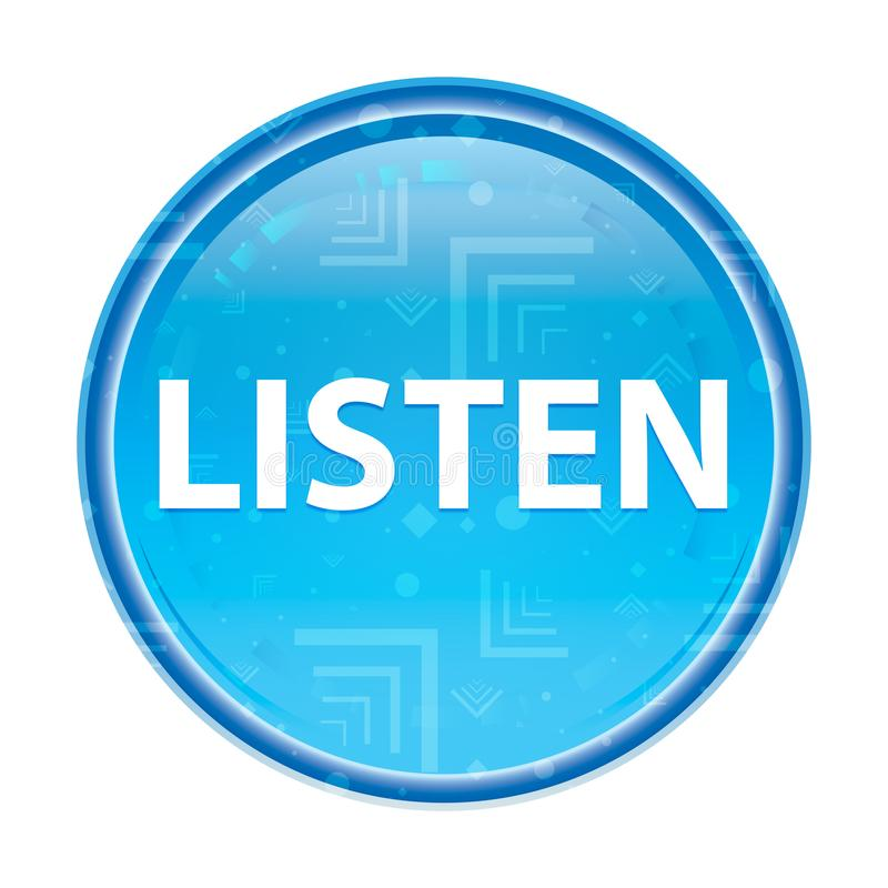 Ascolta il bottone rotondo blu floreale illustrazione di stock