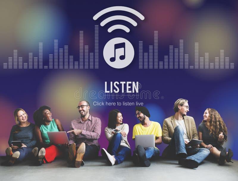Ascolta il concetto radiofonico d'ascolto di spettacolo di musica royalty illustrazione gratis