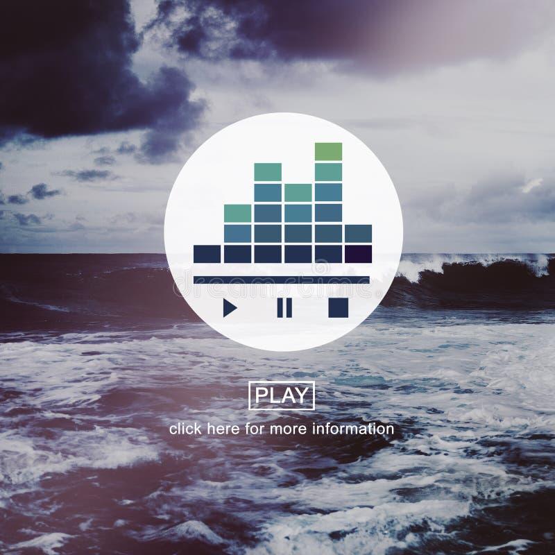 Ascolta l'audio concetto di pausa del gioco di musica fotografia stock