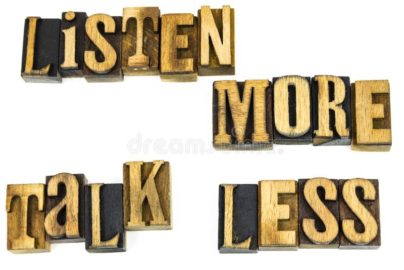 Ascolta più conversazione meno motivazione fotografia stock libera da diritti