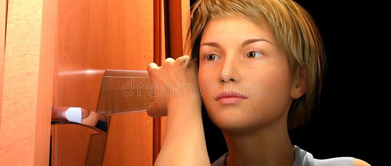 Ascoltando di nascosto con la tazza di vetro illustrazione di stock