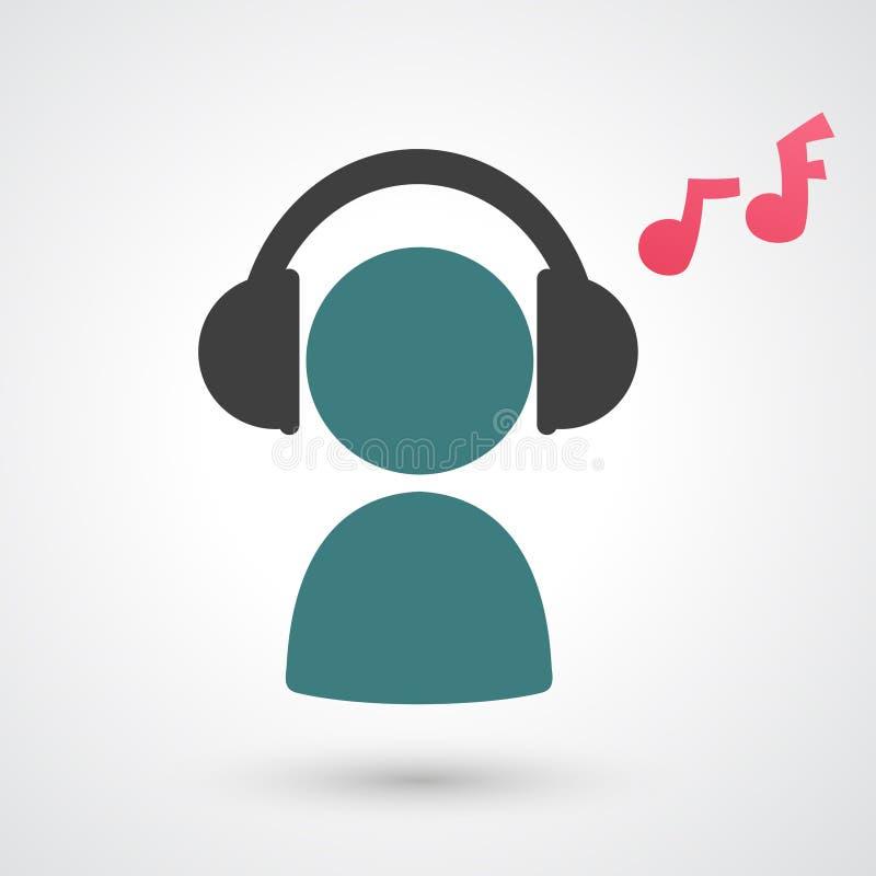 Ascoltando l'icona di musica illustrazione vettoriale