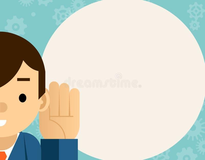 ascoltare L'uomo d'affari tiene la mano vicino all'orecchio royalty illustrazione gratis