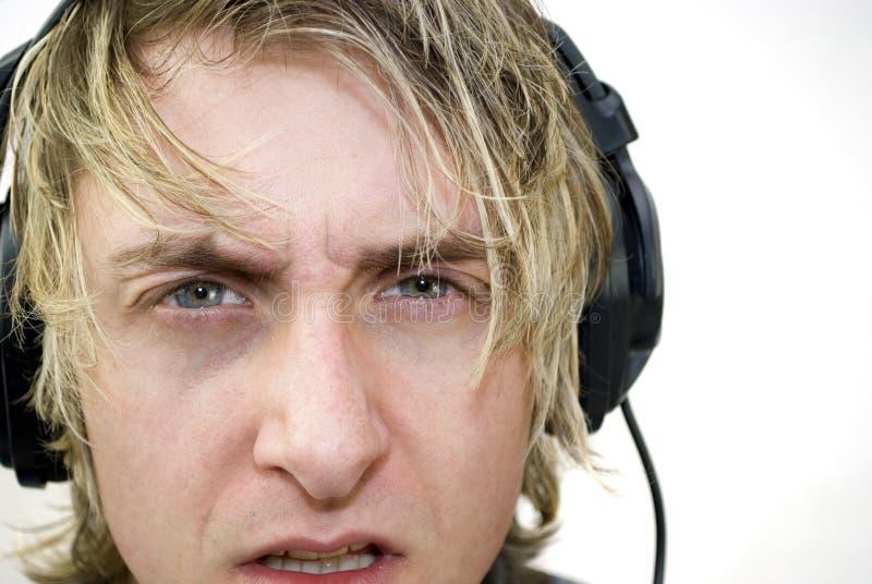 Ascoltatore confuso fotografie stock libere da diritti