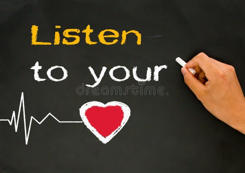 Ascolti il vostro cuore immagini stock libere da diritti