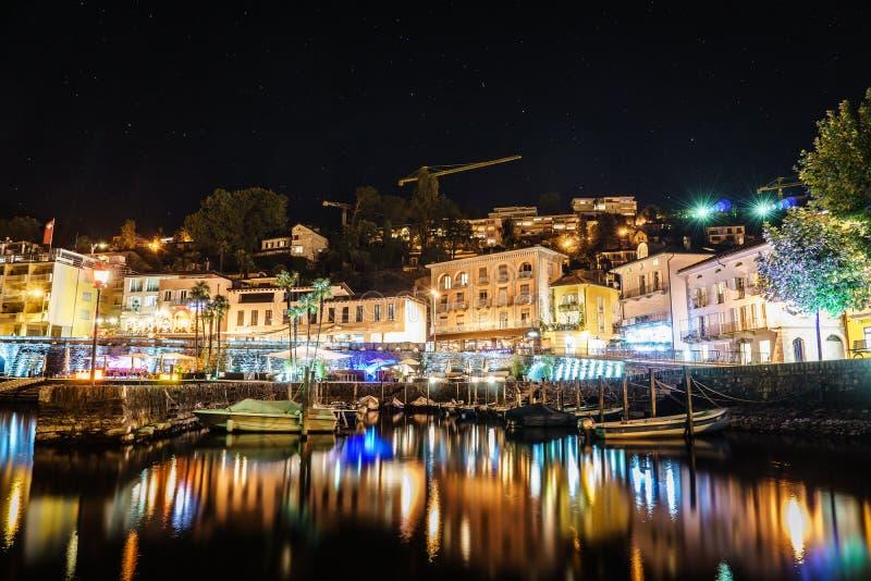 Ascona bij nacht, Zwitserland stock foto