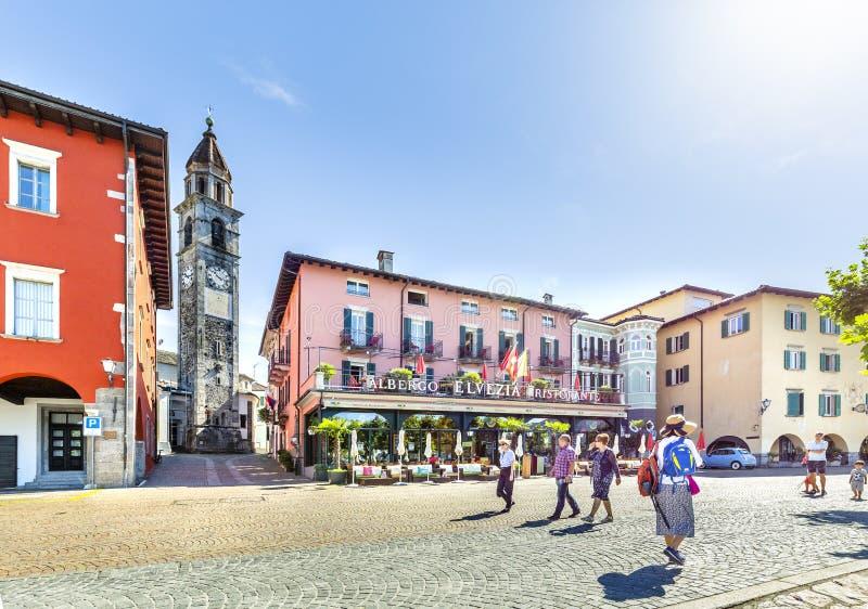 Ascona, canton Tessin, Suisse, le 9 juin 2018 Centre de la ville d'Ascona, canton Tessin, Suisse photos stock