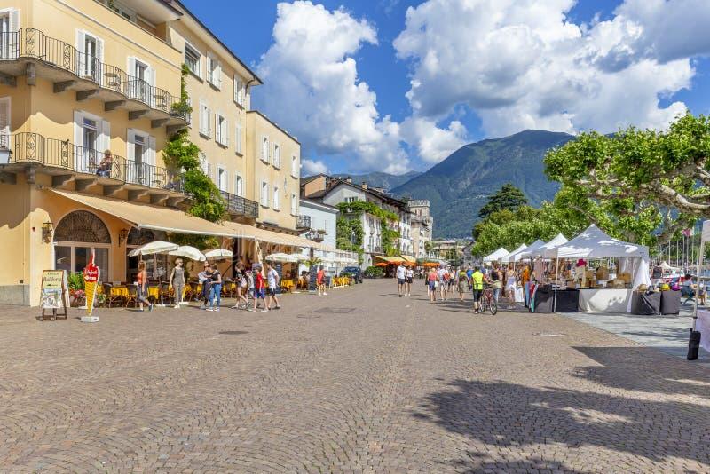 Ascona, canton Tessin, Suisse, le 9 juin 2018 Centre de la ville d'Ascona, canton Tessin, Suisse photo libre de droits