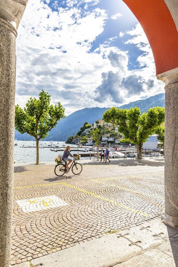 Ascona, canton Tessin, Suisse, le 9 juin 2018 Centre de la ville d'Ascona, canton Tessin, Suisse photos libres de droits