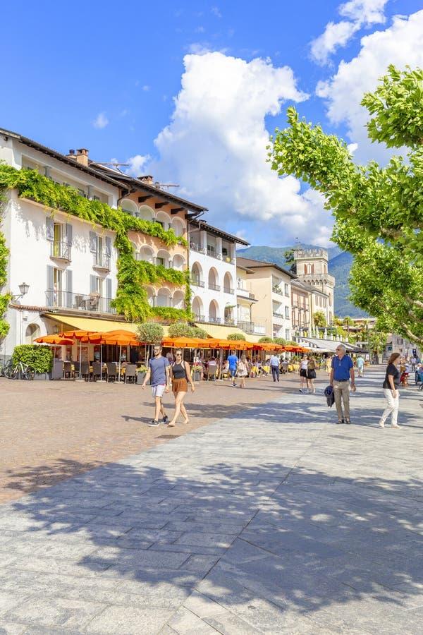 Ascona, canton Tessin, Suisse, le 9 juin 2018 Centre de la ville d'Ascona, canton Tessin, Suisse photographie stock libre de droits