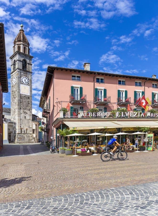 Ascona, Kanton Ticino, Zwitserland, 09 Juni 2018 Het centrum van de Asconastad, Kanton Ticino, Zwitserland royalty-vrije stock afbeelding