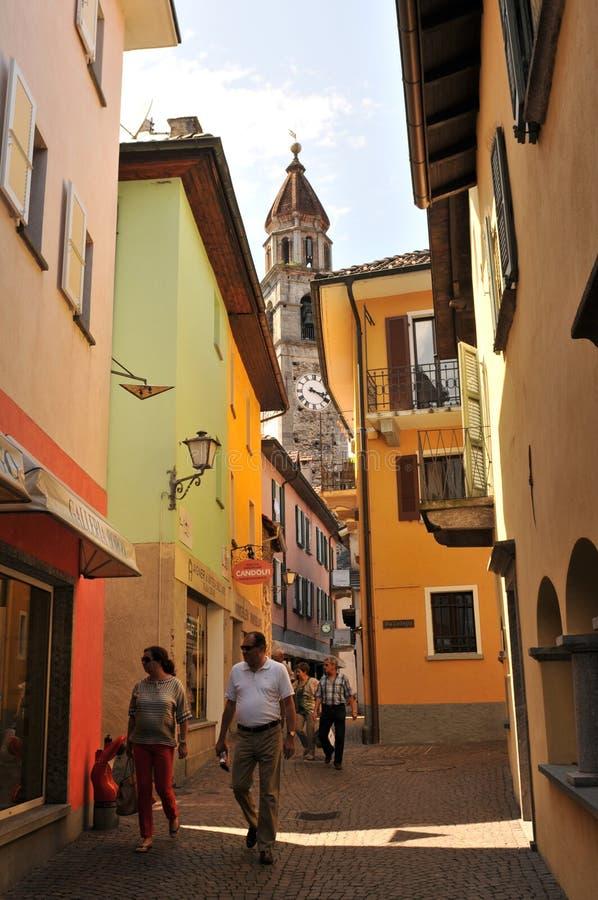 Ascona in Lago Maggiore is beroemd onder Zwitserse en Duitse toeristen royalty-vrije stock foto