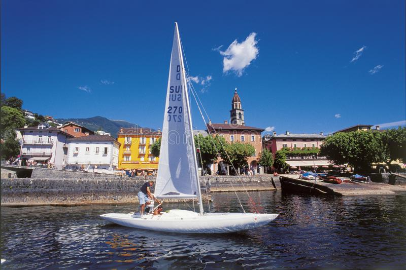 Ascona at the Lago Maggiore is famous for swiss and international tourists and sailors royalty free stock photo
