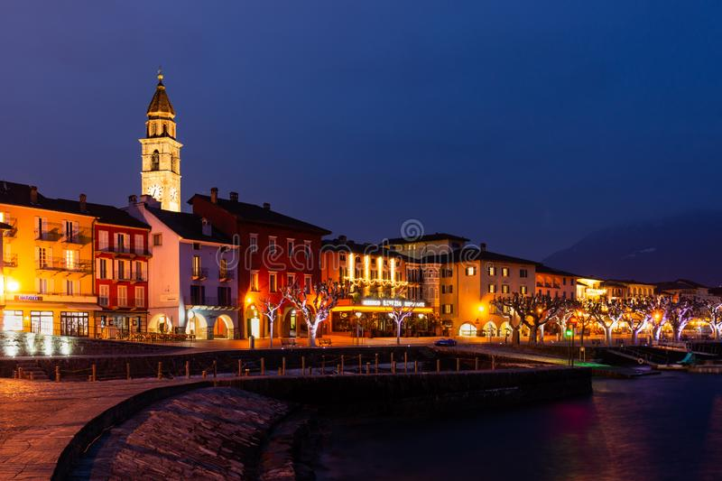 Ascona Old Town and port on Lago Maggiore lake in swiss Alps mountains royalty free stock image