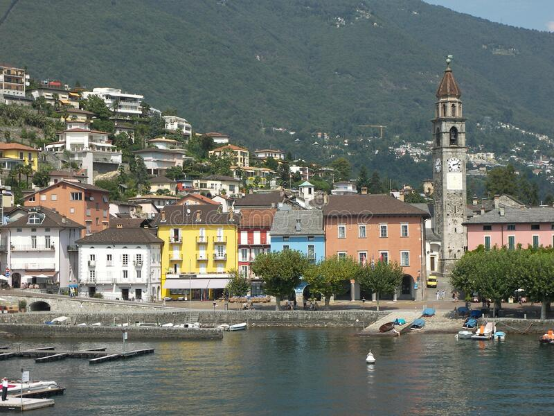 Ascona promenade. Travel view of Lake Maggiore featuring Ascona promenade. The image location is lakes in Italy, Europe royalty free stock images