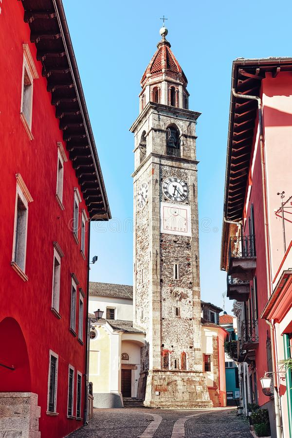 Ascona, Switzerland - August 23, 2016: St Peter and Paul church tower at the luxurious resort in Ascona on Lake Maggiore in Ticino stock image