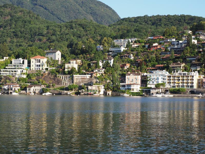 ASCONA travel city in SWITZERLAND with scenic view of Lake Maggiore royalty free stock photo