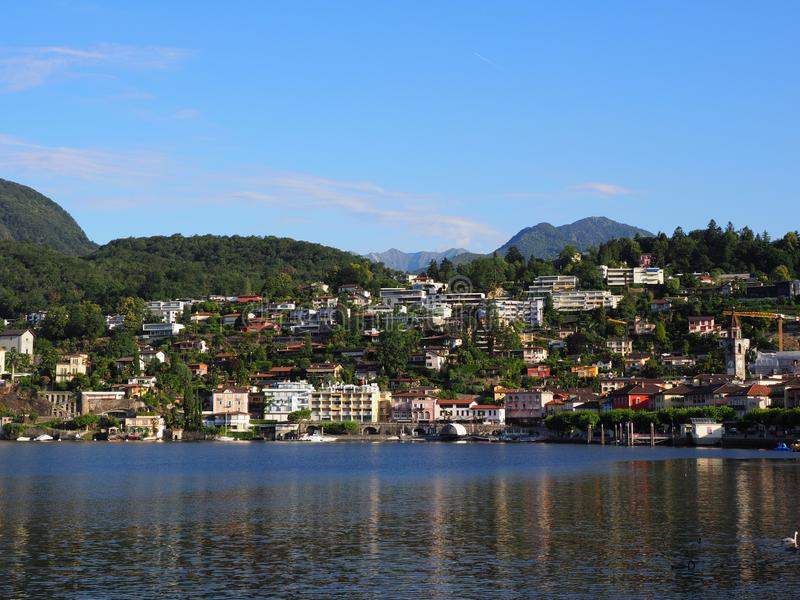ASCONA travel city in SWITZERLAND with scenic view of Lake Maggiore stock images