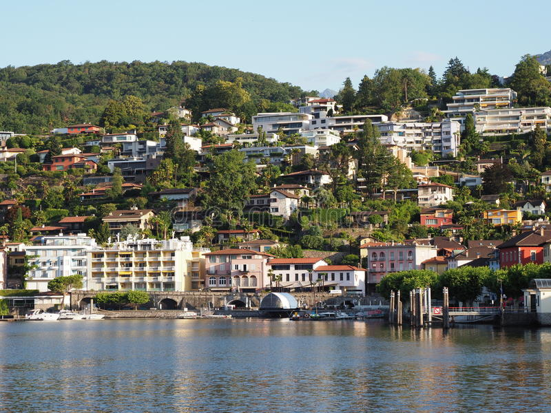 ASCONA travel city in SWITZERLAND withy view on Lake Maggiore stock image
