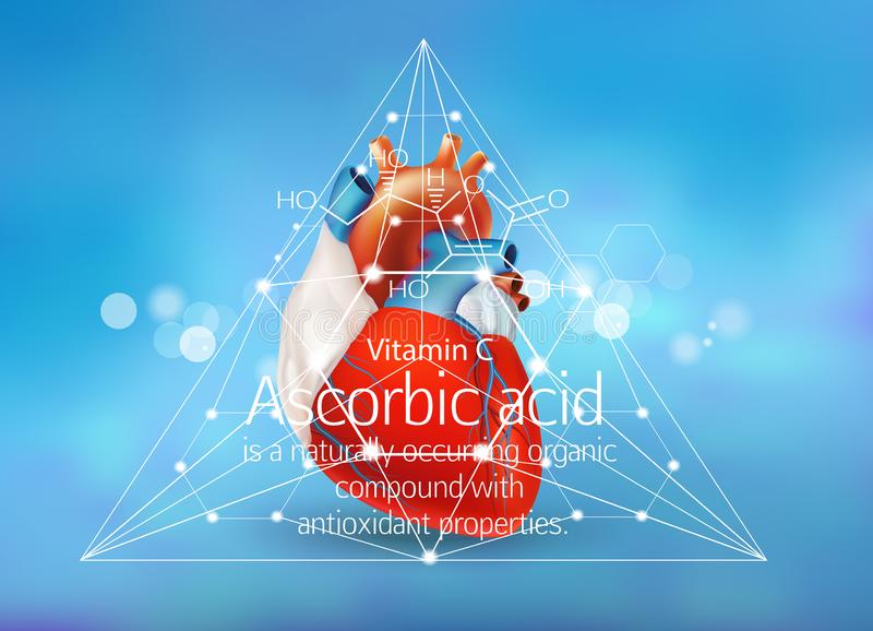 Ascorbic acid,antioxidant. Ascorbic acid vitamin C and the human heart. Formula, description. Concept royalty free illustration