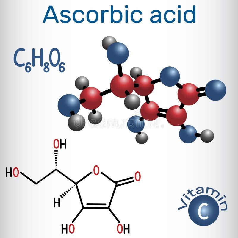 Ascorbic acid vitamin C. Structural chemical formula and molec. Ule model. Vector illustration royalty free illustration