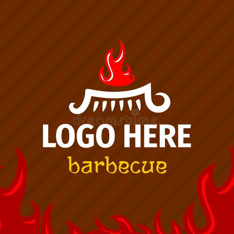 Ase a la parilla la plantilla del logotipo con el fuego del logogram en parrilla ilustración del vector