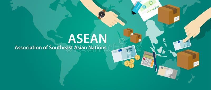 ASEAN-anslutning av sydostliga asiatiska nationer stock illustrationer