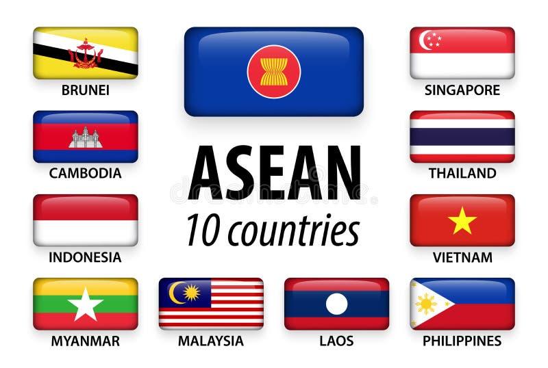 ASEAN-anslutning av sydostliga asiatiska nationer och medlemskapet vektor illustrationer