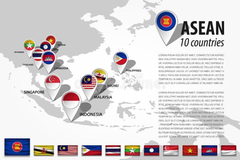 ASEAN-anslutning av sydostliga asiatiska nationer och stiftet för GPS navigatörläge med landsflaggan av medlemskapet på världskar royaltyfri illustrationer