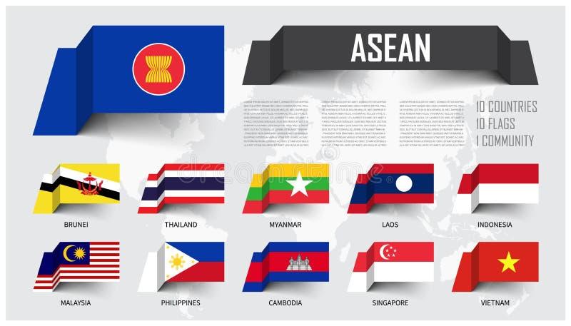 ASEAN Association des nations asiatiques du sud-est Et adhésion Les drapeaux de papier de flottement conçoivent Fond de carte du  illustration libre de droits