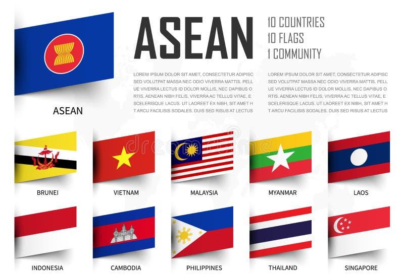 ASEAN Association des nations asiatiques du sud-est et drapeaux d'adhésion Conception insérée de papier Fond de carte du monde Ve illustration libre de droits