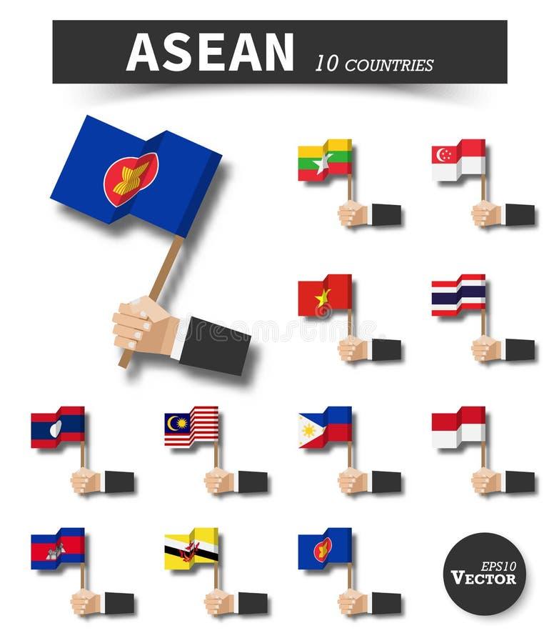 ASEAN Association des nations asiatiques du sud-est Main de prise d'homme d'affaires et mât de drapeau de vague sur le fond d'iso illustration de vecteur