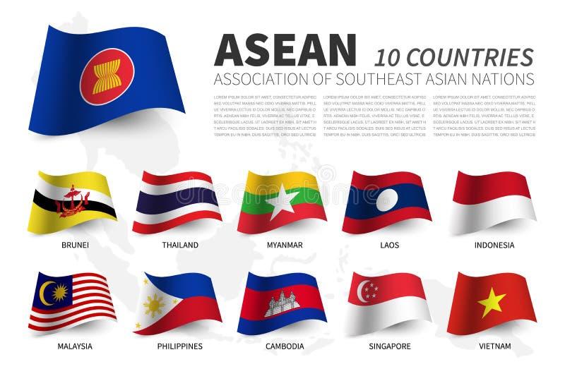 ASEAN Association des nations et de l'adh?sion asiatiques du sud-est Les drapeaux de ondulation conçoivent Fond de carte d'Asie d illustration stock